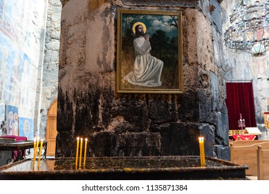 AKHTALA, ARMENIA - MARTCH 28, 2018: Interior of the Akhtala fortress-monastery a 10th-century fortified Georgian Orthodox Church monastery located in the town of Akhtala in the marz of Lori.