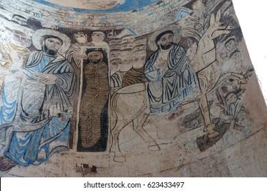 AKHTAMAR ISLAND, TURKEY - JUN 11, 2014 - Remains of Christian frescoes in the Armenian Church of the Holy Cross on  Akhtamar Island (Akdamar) in Lake Van,  Turkey