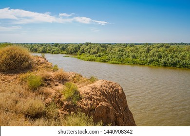 Akhtuba River (Ashuluk) near the confluence of the Volga. On the steep left bank is the reconstruction of the capital of the Golden Horde - Saray-Batu