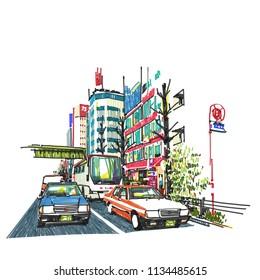 Akihabara neighborhood Tokyo Japan , Sketchbook Illustration design.