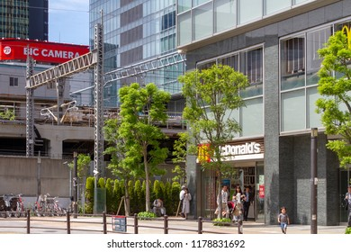 AKIHABARA, TOKYO, JAPAN - APRIL 26, 2018. The western side of Akihabara Station in the popular tourist district known as 'Akiba' or 'Electric Town' in central Tokyo.