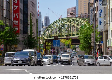 AKIHABARA, TOKYO, JAPAN - APRIL 26, 2018. The historical steel railway bridge in the popular tourist district known as 'Akiba' or 'Electric Town' in central Tokyo.