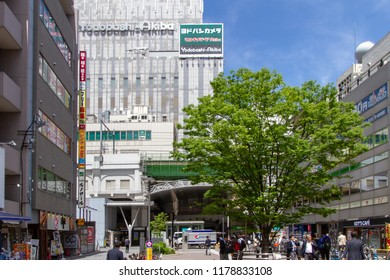 AKIHABARA, TOKYO, JAPAN - APRIL 26, 2018. Akihabara Park in the popular tourist district known as 'Akiba' or 'Electric Town' in central Tokyo.