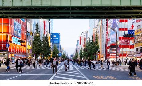 AKIHABARA, TOKYO, JAPAN - CIRCA NOV 2015 : People on Akihabara weekends market