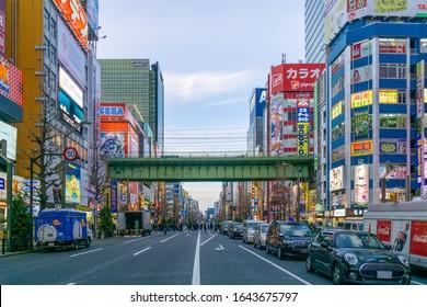 Akihabara, Tokyo, Japan/February 2020:Cityscape with Akihabara buildings and shops. Main street in the evening.
