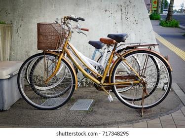 Akita, Japan - May 17, 2017. Bicycles parking outdoor at downtown in Akita, Japan. Akita is a large prefecture at the Sea of Japan coast in the northern Tohoku Region.