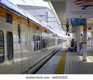 Akita, Japan - May 19, 2017. A train stopping at JR station in Akita, Japan. Railways are the most important means of passenger transportation in Japan.
