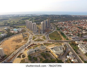 Or Akiva, Israel - Aerial View.  Or Akiva is a city located in the Haifa District of Israel, on the country's coastal plain. It is located just inland from the ancient port city of Caesarea.