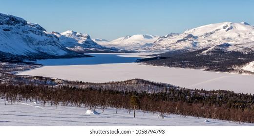 Akkajaure in the Wintertime over Saltoluokta on the Kungsleden