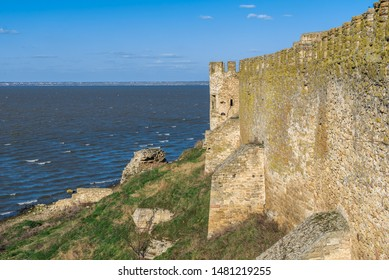 Akkerman, Ukraine - 03.23.2019. Panoramic view of the Akkerman Fortress on the right bank of the Dniester estuary,  a historical and architectural monument