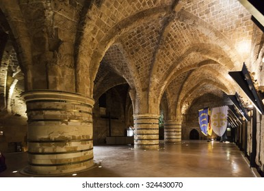 AKKO (ACRE). ISRAEL. OCTOBER 23, 2014: Underground Citadel and prison museum is one of the best museums in Israel outside of Jerusalem.