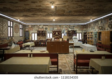 AKKO, ISRAEL - December 21 2017: Interior of the Tunisian Or Torah Synagogue, with special decor.