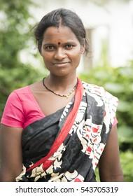 AKOLA, MAHARASHTRA, INDIA - 19 AUGUST 2016 : Portrait of unidentified Maharashtrian women at their village.