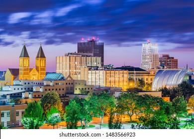Akron, Ohio, USA downtown skyline at dusk.