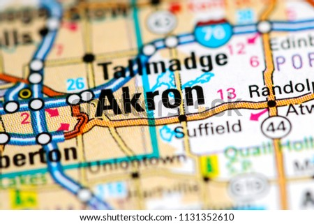 Akron Ohio Usa On Map Stock Photo Edit Now 1131352610 Shutterstock