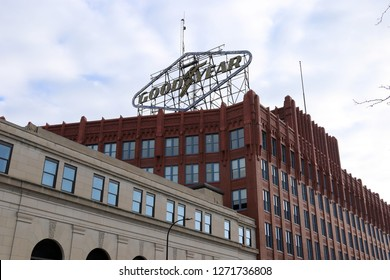 AKRON, OHIO/USA – December 26, 2018: The large rooftop sign of the old Goodyear Tire and Rubber Company in Akron, Ohio