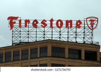 AKRON, OHIO/USA – December 29, 2018: The large rooftop sign of the old Firestone Tire Company in Akron, Ohio