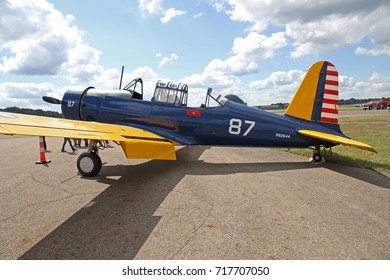 AKRON, OHIO/USA - SEPT 9, 2017: A Vultee BT-13A Valiant at Props and Pistons Airshow taking place at the Akron Fulton International Airport