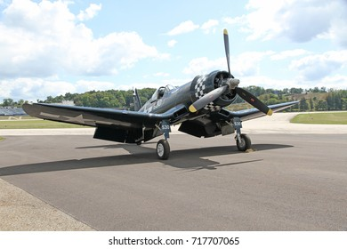 AKRON, OHIO/USA - SEPT 9, 2017: A Goodyear FG-1D Corsair at Props and Pistons Airshow taking place at the Akron Fulton International Airport