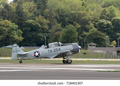 AKRON, OHIO/USA - SEPT 9, 2017: North American T-6G Texan at Props and Pistons Airshow taking place at the Akron Fulton International Airport