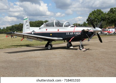 AKRON, OHIO/USA - SEPT 9, 2017: A USAF Beechcraft T-6 Texan II at Props and Pistons Airshow taking place at the Akron Fulton International Airport