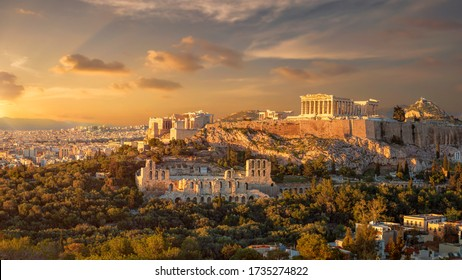 Akropolis of athens at sunset