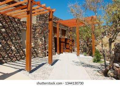 Akrotiri, Greece - August 01, 2012: Entrance to the Akrotiri archaeological site in Akrotiri, Greece.