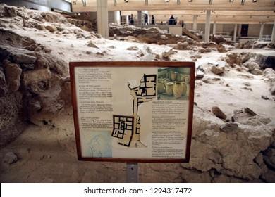 AKROTIRI, SANTORINI - DEC 2, 2018 - Diagram of the archaeology of the ancient ruins of Akrotiri, Santorini, Greece