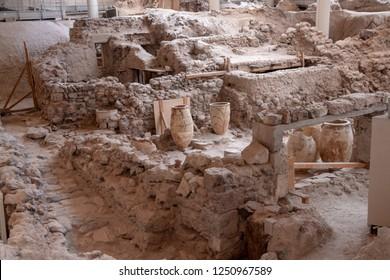 Akrotiri Santorini Greece August 27 2018 Akrotiri is a Minoan Bronze Age settlement on the volcanic Greek island of Santorini (Thera).