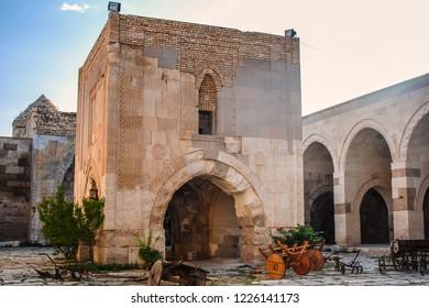 Aksaray Province, Turkey - 08-08-2010: Sultan Han, a large 13th-century Seljuk caravanserai located in the town of Sultanhanı. Interior.