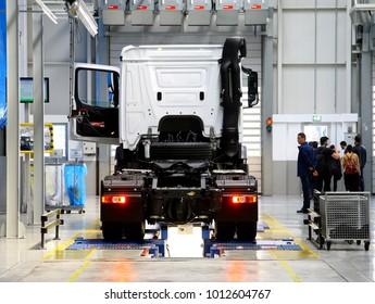 AKSARAY, TURKEY - JANUARY 24, 2018: Mercedes Actros producing new model of the plant near Aksaray and new trucks.