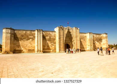 AKSARAY, TURKEY - May 17, 2014: Caravanserai Sultanhani was built in 1229 by Sultan Alaaddin Keykubat. It was an important point of the Silk Road in the Seljuk era on the road to Konya - Aksaray