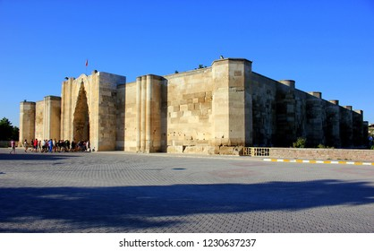 AKSARAY, TURKEY - SEPTEMBER 2, 2015: Caravanserai Sultanhani was built in 1229 by Sultan Alaaddin Keykubat. It was an important point of the Silk Road in the Seljuk era on the road to Konya - Aksaray.