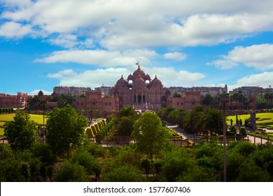 Akshardham, The largest Hindu temple in the world. The beautiful temple in Hindu style (Akshardham, Delhi, India)