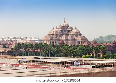 Akshardham Temple in New Delhi, India. Akshardham or Swaminarayan Akshardham complex is a Hindu mandir and a spiritual-cultural campus in India.