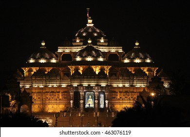 Akshardham temple night view at New Delhi, India
