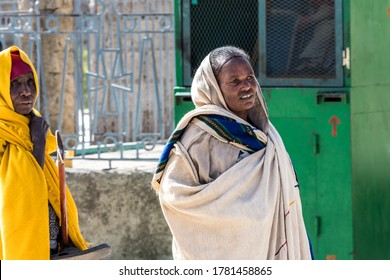 Aksum, Ethiopia - Feb 09, 2020: Ethiopian People at Church of Our Lady St. Mary of Zion, the most sacred place for all Orthodox Ethiopians in Axum, Ethiopia.