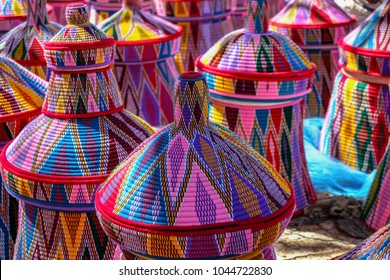 AKSUM, ETHIOPIA - JANUARY 13: Baskets in the Aksum basket market on January 13, 2018 in Aksum, Ethiopia.