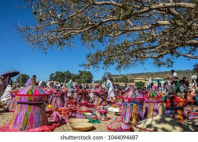 AKSUM, ETHIOPIA - JANUARY 13: Ethiopian women selling baskets in the Aksum basket market on January 13, 2018 in Aksum, Ethiopia.