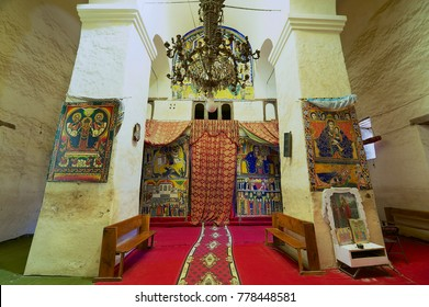 AKSUM, ETHIOPIA - JANUARY 24, 2010: Interior of the church of Our Lady Mary of Zion, the most sacred place for all Orthodox Ethiopians in Aksum, Ethiopia.