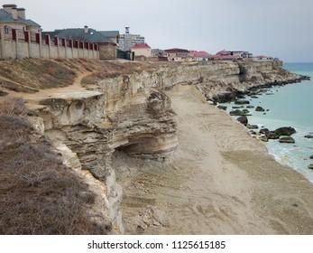 Aktau city on the shore of the Caspian Sea. Kazakhstan.