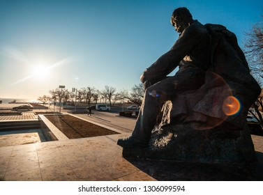 AKTAU, KAZAKHSTAN - FEBRUARY 06, 2019: monument of famous Ukrainian poet Taras Shevchenko