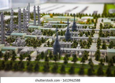 Aktobe region/Kazakhstan - May 04 2012: Scale miniature (maquette) of modern oil refinery and gas processing plant. Distillation columns and pipelines.