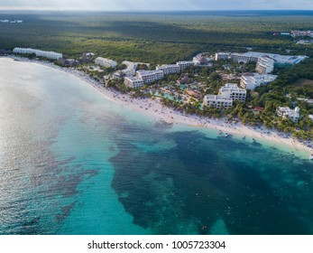 Akumal bay Caribbean beach in Riviera Maya. Aerial view of Sea side beach. Top view aerial video of beauty nature landscape with tropical beach in Akumal, Mexico. Caribbean Sea, coral reef, top view