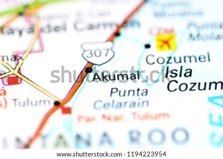 Akumal Mexico On Map Stock Photo (Edit Now) 1194223954 - Shutterstock