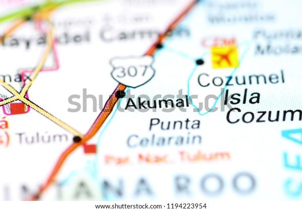 Akumal Mexico On Map Stock Photo (Edit Now) 1194223954