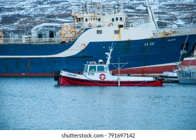 Akureyri Iceland - December 22 2017: Tug boat Mjolnir in port of Akureyri