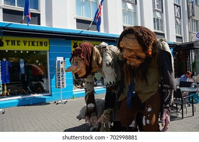 AKUREYRI, ICELAND - JULY 22: Trolls on 22 July 2017 at Akureyri. Trolls are legendary figures in Icelandic mythology.