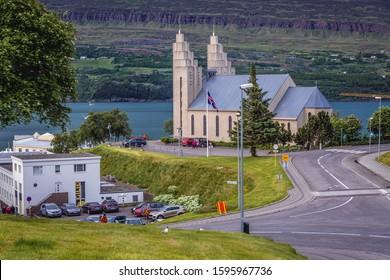 Akureyri, Iceland - June 17, 2018: Rear view of Akureyrarkirkja church in Akureyri city