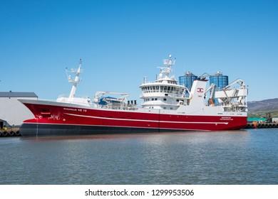 Akureyri, Iceland - June 5. 2018: Pelagic freezing Trawler Sigurdur in port of Akureyri